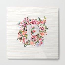 Initial Letter P Watercolor Flower Metal Print