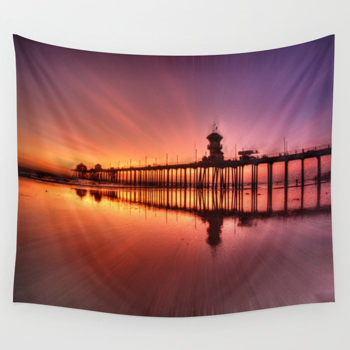 Sunset In Motion Huntington Beach Pier Photo Steve Berger Wall Tapestry By Johnlymanphotos Society6