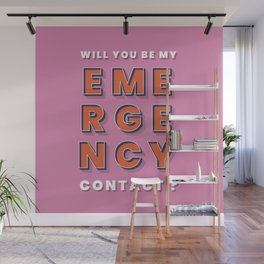 Emergency contact - typography Wall Mural