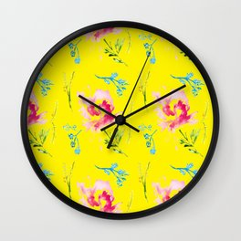 colorburst on yellow Wall Clock