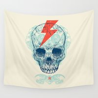 pop Wall Tapestries featuring Skull Bolt by Rachel Caldwell