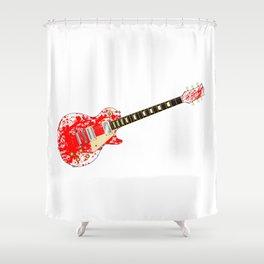 Ink Splatter Guitar Shower Curtain