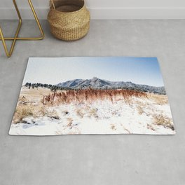 Flatirons Boulder // Colorful Colorado Field Red and Yellow Autumn Snowfall Rug