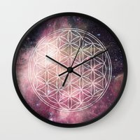 sacred geometry Wall Clocks featuring Sacred Geometry Universe 3 by Gaudy