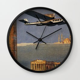 Italian vintage plane travel Brindisi Athens Istanbul Wall Clock