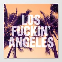 los angeles Canvas Prints featuring Los Angeles by Text Guy