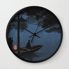 Boat with Lantern Beneath Shubi Pine Wall Clock