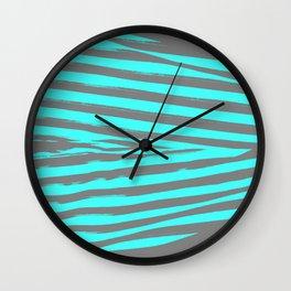 Aqua & Gray Stripes Wall Clock