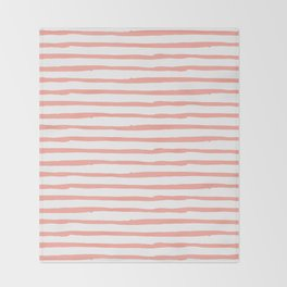 Pink Drawn Stripes Throw Blanket