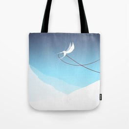Hummingbird and a red thread Tote Bag