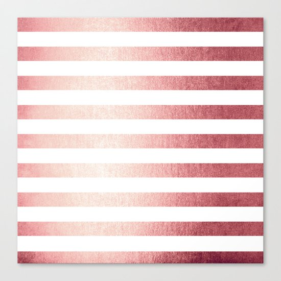Simply Striped Rose Gold Twilight Canvas Print