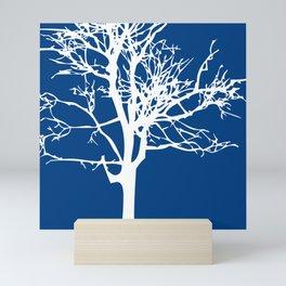 tree blue and white Mini Art Print