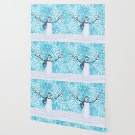 snowman and tufted titmouse flock Wallpaper