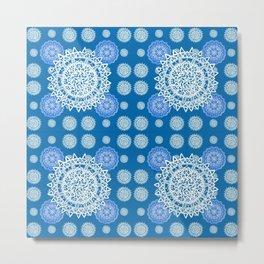 Bright Blue and Silver Kaleidoscope Mandala Pattern Metal Print
