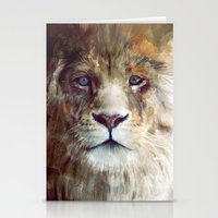 chris brown Stationery Cards featuring Lion // Majesty by Amy Hamilton