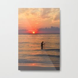 Sunset Crabbing Metal Print