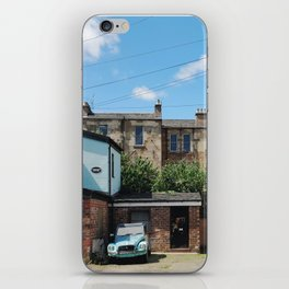 Vintage Blue Car in a Bright Glasgow Tenement Building Courtyard iPhone Skin