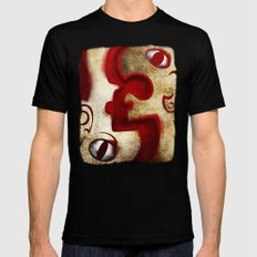 Red Digital Engraving Twin Faces MEDIUM Black Mens Fitted Tee