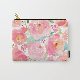 Watercolor Peonies Summer Bouquet Carry-All Pouch