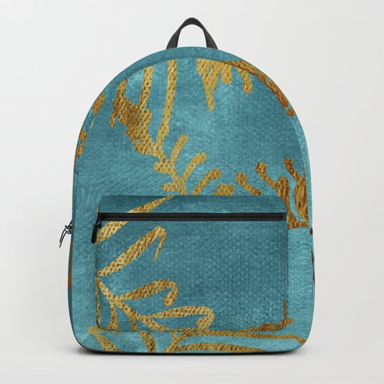 Golden cycas leaves on turquoise canvas Backpack
