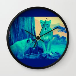 Lioness at Sunset Wall Clock