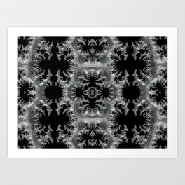 Delicate Silver Filigree on Black Fractal Abstract Art Print