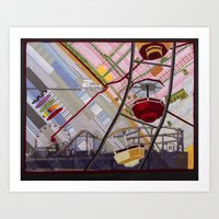 santa monica Art Prints featuring Santa Monica by Ellen November