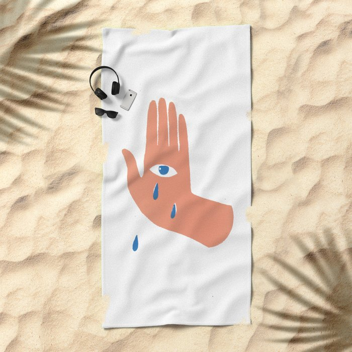 Teary Hand Beach Towel