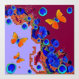 Blue Eyes Gold Butterflies  Lilac & Burgundy Color Canvas Print