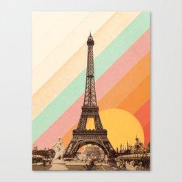 Rainbow Sky Above The Eiffel Tower Canvas Print