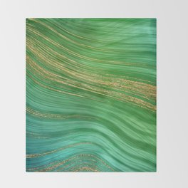 Green Mermaid Glamour Marble With Gold Veins Throw Blanket