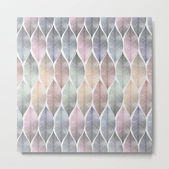Metallic Leaf Pattern Metal Print
