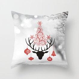 Vintage deers. Merry Christmas! Throw Pillow