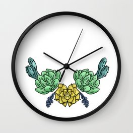 cacti and flowers Wall Clock
