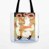 hip hop Tote Bags featuring Pippilotta - swedish hip hop  by Elin Lucassi