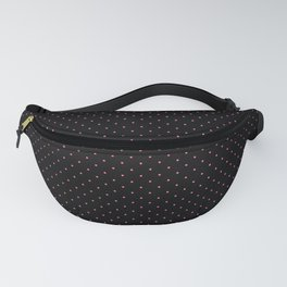 Extra Small Light Hot Pink on Black Polka Dots Fanny Pack