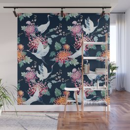 Vintage Japanese crane birds illustration pattern Wall Mural