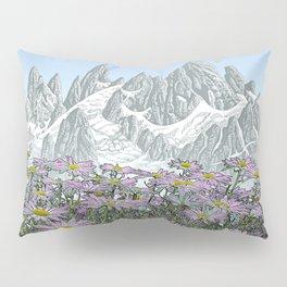 PURPLE DAISIES TALL MOUNTAIN PEN DRAWING PHOTO HYBRID Pillow Sham