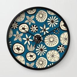 sumer flowers blue Wall Clock