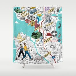 Illustrated Seattle City Map Shower Curtain