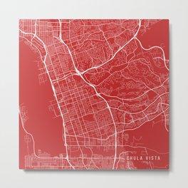 Chula Vista Map, USA - Red Metal Print