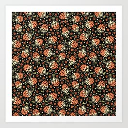 Wild Strawberry Field , Woodcut Style Fruit Pattern Illustration Red on Black Art Print