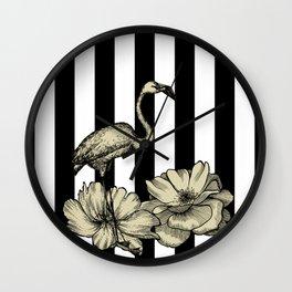 Stripe Flamingo Wall Clock