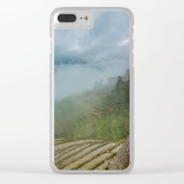 Misty View of Longj Rice Terraces Clear iPhone Case