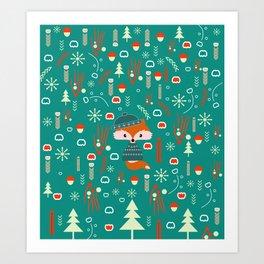 Cute fox waiting for Christmas Art Print