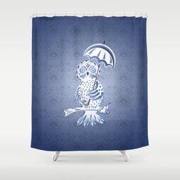 Blue ornamental owl Shower Curtain