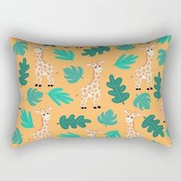 Wild Cute Green Orange Giraffe Leaves Pattern Rectangular Pillow