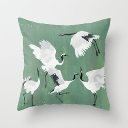 Dancing cranes - jade green Throw Pillow