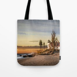 Point Betsie Lighthouse at Sunset on Lake Michigan near Frankfort Michigan No.66032 Fine Art Lightho Tote Bag
