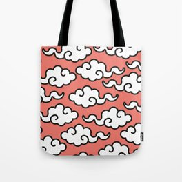 Coral Popart Summertime Clouds - retro ethnic tribal aztec 80s 90s pop-art minimal nature tropical Tote Bag
